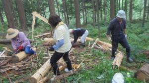 なた、鎌を使い間伐材の皮をむきました